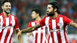 Alejandro Domínguez after scoring a play-off goal for Olympiacos