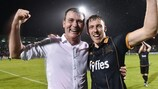 Dundalk manager Stephen Kenny and striker David McMillan after reaching the play-offs