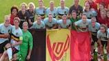 Celebración de Bélgica el martes en Serbia, que jugará la fase final