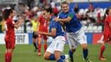 Italia celebra el triunfo por 3-1 ante la República Checa y que ha dado la clasificación a las italianas
