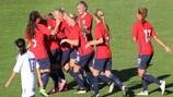Норвежки празднуют победу