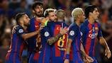 Lionel Messi celebrates his hat-trick goal