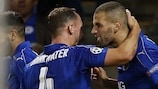 Islam Slimani (right) celebrates his winner for Leicester