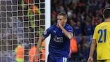 Islam Slimani después de marcar el gol del triunfo del Leicester contra el Oporto