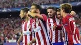 Goalscorer Yannick Carrasco salutes the Atlético supporters