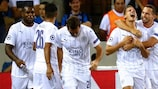 Marc Albrighton (second right) after scoring Leicester's first ever UEFA Champions League goal, at Club Brugge