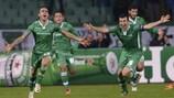 Yordan Minev celebrates after scoring a 92nd-minute winner