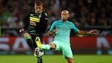 Thorgan Hazard (left) was on target for Mönchengladbach against Javier Mascherano's Barcelona in September