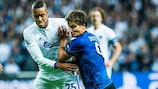 Mathias Jørgensen gets to grips with Jelle Vossen during FCK's 4-0 win over Brugge in September