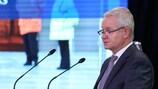 František Laurinec, membro do Comité Executivo da UEFA, fala em Bucareste