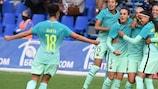 Barcelona celebrate scoring at Minsk