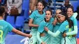 El Barcelona celebra un tanto en una eliminatoria anterior