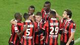 Jean Michel Seri (terceiro à esquerda) marcou um dos golos do Nice frente ao Lyon