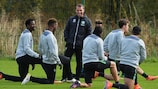 Brendan Rodgers oversees Celtic's training session on the eve of the Gladbach game
