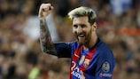 Lionel Messi celebrates his hat-trick