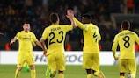 Alfred N'Diaye (No4) celebrates with Villarreal team-mate Daniele Bonera after scoring against Osmanlıspor