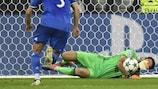Gianluigi Buffon saves Alexandre Lacazette's penalty at Lyon