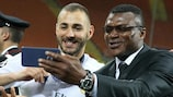 Marcel Desailly shares a moment with Karim Benzema