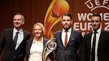 Dominik Thalhammer, Martina Voss-Tecklenburg, Freyr Alexandersson e Olivier Echouafni
