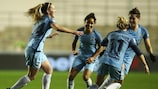 Manchester City's Keira Walsh (left) savours her goal against Brøndby