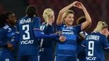 Claire Lavogez festeggia uno dei gol segnati dal Lione