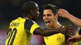 Adrián Ramos (left) celebrates his goal