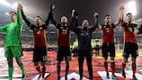 Belgium parade before their fans after beating Estonia 8-1