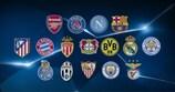 Die Logos der 16 Achtelfinalisten