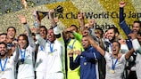 Real Madrid lift the FIFA Club World Cup trophy