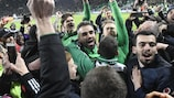 Loïc Perrin celebrates St-Étienne's derby win with supporters