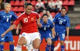 Camille Abily converts a penalty for France against Iceland in 2009