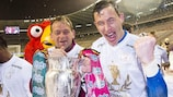 Zulte Waregem goalkeeper Sammy Bossut celebrates with the Belgian Cup after saving two penalties in a final shoot-out success against Oostende