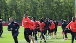 Manchester United players are put through their paces in training on Wednesday