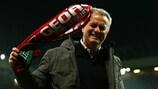 José Mourinho celebrates taking United to the UEFA Europa League final