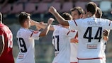 Videoton celebrate scoring against Balzan