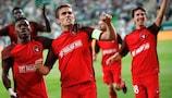 Jakob Poulsen, del Midtjylland, celebra uno de los goles