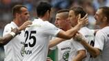 Il Mladá Boleslav festeggia un gol contro lo Shamrock Rovers