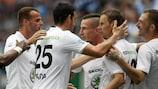 O Mladá Boleslav celebra um golo frente ao Shamrock Rovers