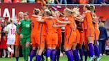 As jogadoras da anfitriã Holanda festejam a conquista do UEFA Women's EURO 2017