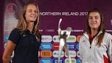 France captain Mylène Chavas and Spain's Patricia Guijarro ahead of the final