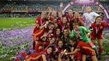 Las jugadoras españolas, muy felices tras el triunfo