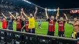 Vardar celebrate a famous first-leg victory over Fenerbahçe