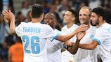 Marseille celebrate their second of the night against Domžale