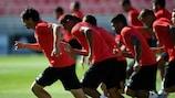 Treino do Benfica na véspera de defrontar o CSKA Moscovo