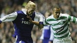 Christian Wilhelmsson (left) and Henrik Larsson tussle for possession during the 2003/04 group stage