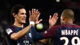 Edinson Cavani and Kylian Mbappé enjoy Paris's win against Lyon