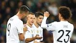 Germany celebrate their third goal in Belfast