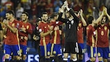 Spain celebrate securing their World Cup place