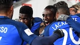 Blaise Matuidi after scoring France's early winner in Bulgaria