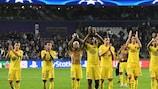 Les joueurs de Paris savourent leur succès à Anderlecht